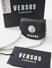New VERSUS VERSACE Black Saffiano Leather MINI BAG Necklace Charm Pendant