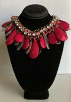 Vintage goldtone chain collar teardrop hot pink faceted bead statement necklace