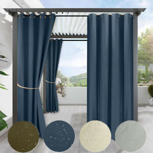 Outdoor Garden Waterproof Curtain Blackout Eyelets Thermal Curtain Pergola Patio