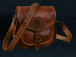 Women Vintage Looking-Brown Leather Messenger Bag Handmade Purse Cross Body Bag