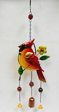 """Red Cardinal Bird Bell Wind Chime - Metal, Fused Glass, Marbles, Beads  22"""""""