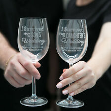 """Personalised Engraved """"I Survived My Daughters / Sons Wedding"""" Wine Glasses Gift"""