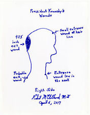 Dr. Robert McClelland JFK John F. Kennedy Original Assassination Wounds Drawing