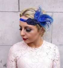 Royal Teal Blue Feather Headpiece 1920s Headband Flapper Great Gatsby Deco 4276
