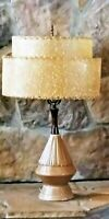 "Vintage Danish Genie Ceramic Teak 27"" Table Lamp & Speckled Texture Shade N!CE"