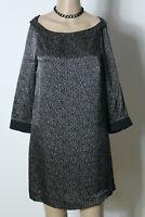 ZARA Kleid Gr. S schwarz-beige A-Linie Kleid/Tunika kurz Leo-Look aus 100% Seide