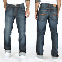 Nudie Herren Regular Slim Straight Fit Stretch Jeans Hose - Slim Jim Cold Denim