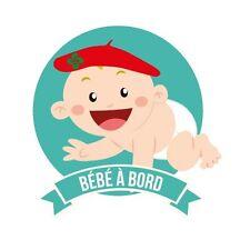 Autocollant Bébé à bord garçon baby boy  basque stickers adhésif logo 4 8 cm
