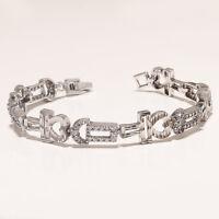 Natural White Topaz Love Bracelet 925 Sterling Silver Women Wedding Fine Jewelry