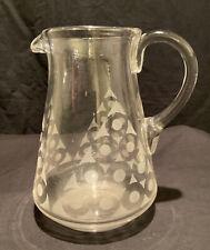 VINTAGE RETRO USED ART DECO GLASS LEMONADE WATER JUG PITCHER DRINK COCKTAIL BAR