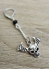 Single Skull Earring Silver Wings Mens Gents Goth Gothic Wing Gift Mans