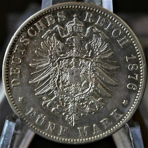 1876 B Germany Prussia Silver 5 Mark - VF-XF - No Reserve