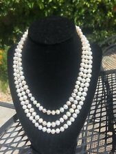 Jackie Kennedy Authentic Natural Akoya Pearls - 3 strand three row Necklace 8mm