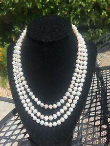 Jackie Kennedy Authentic Natural Akoya Pearls 3 strand three row Necklace choker