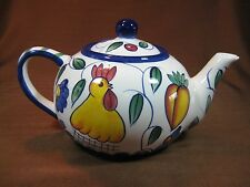 Style-Eyes by Baum Bros. White 56 oz. Teapot Rooster and Fruits Blue Trim