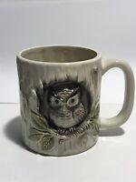 Vintage Owl Mug Otagiri Hand Painted 3D Ceramic Coffee Tea Cup Japan - EUC