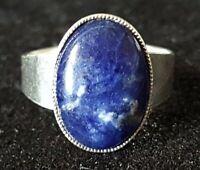 Sterling silver & lapis lazuli vintage Art Deco antique ring - size M