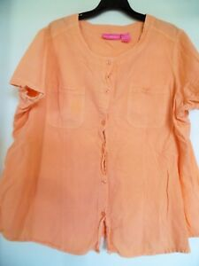 WOMAN WITHIN Women's  Coral Button Down  Top Shirt  Sz 1X