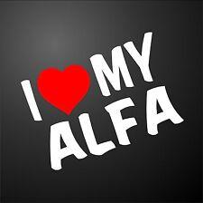 Me encanta mi Alfa Romeo 159 GT 156 Coche Ventana Parachoques Gráfico Pegatina llantas de aleación