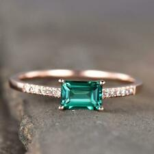 1.20 TCW Emerald Cut Green Sapphire Engagement Ring In 14k Rose Gold Plated