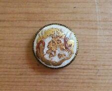 """Antique Paint SATSUMA Ceramic Button-Dragon Greek Link Fits Button Pendant 3/4"""""""