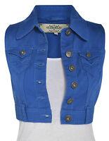 Talla 8 10 12 14 16 Denim Nueva Corto Chaleco Mujer vaqueros chaqueta azul