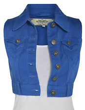 Size 8 10 12 14 16 NEW DENIM Cropped Waistcoat JACKET Ladies Jean Jackets Blue