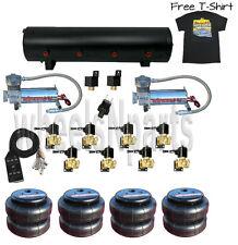 """AirMaxxx 480 Chrome Air Compressors 3/8"""" Valves 2500 Air Bags Blk 7 Switch Shirt"""
