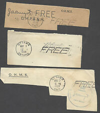 CANADA - GOVERNMENTAL FREE FRANKED CUTS FROM 1928 AND 1934