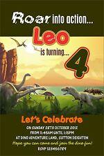 Personalised Birthday Invitations Dinosaur x 5