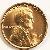 1936-P, Lincoln Wheat Cent Penny Gorgeos B U CH/GEM Nice Luster From OBW Roll