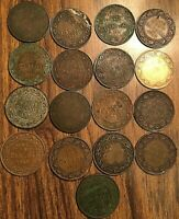 LOT OF 17 CANADA LARGE CENTS LOT OF 17 COINS