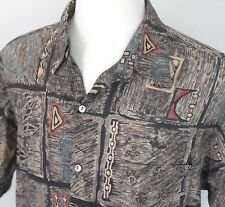 Men's Large Tori Richard Cotton Lawn Tapa Design Hawaiian Aloha Shirt