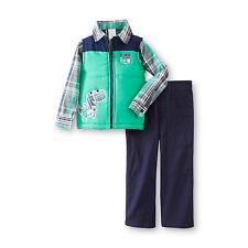 WonderKids Toddler Boy's Blue/Green 3 Piece Quilted Vest, Shirt & Pants Set 5T