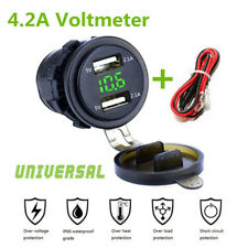 Green Dual USB Charger Socket Power Outlet 4.2A+ Voltmeter&Wire In-line 10A Fuse