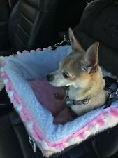 Small Black Dog Car Booster Seat (Pink Bunny Pom Poms) Dogs Out Doing *