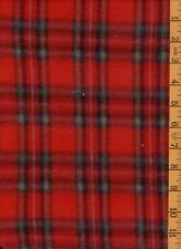"""2 Yards 7"""" 58 Wide Polyester Quilting Sewing Fleece Red & Black Plaid Squares"""