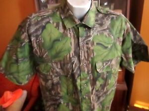Vtg NEW Mossy Oak Original Tree Stand  Camo Shirt LARGE USA Made Cotton Chamois