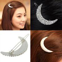 Women Cute Silver Crystal Moon Rhinestone Headwear Hairpin Hair Clip Jewelry