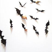 Black 12pcs Bat Halloween Party Decoration Decal Home Decoration Wall Sticker