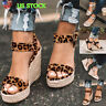 Womens Platform Sandals Studs Ankle Strap Buckle Wedges Espadrille Summer Shoes