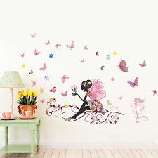 Flower fairy Butterfly Girls Cartoon kids bedroom room decor Wall sticker decal.