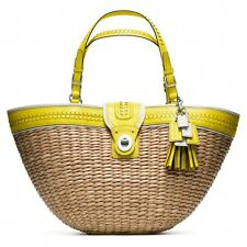 COACH STRAW Shoulder TOTE BAG SHOPPER LIME GREEN Yellow Beach EDITORIAL $750 New