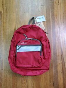 Vintage LL Bean Backpack 90s Cranberry Red Reflective Knapsack Travel NEW NOS