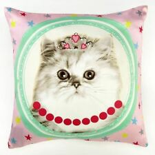 HALL OF FAME WHITE CAT CUSHION ARTHOUSE DOUBLE-SIDED CHILDRENS PINK