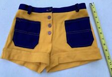 Vtg Hot Pants Short SHORTS Mini 1970s Whistle Stop Yellow Blue Hippie Sexy GoGo