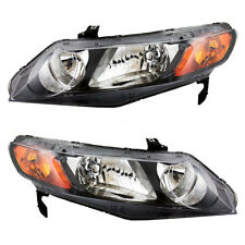 Fits Honda Civic Sedan 06-11 Set of Headlights Headlamps with Amber Park Lights