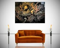 Twin Dragons Mural Japanese Old Temple Giant Poster Wall Art Print