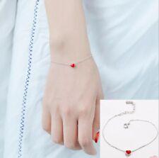 """8"""" Silver Enameled Red Heart Bangle Bracelet Chain Girl Women Gift Box I29"""