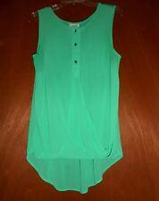 Women Blouse Top Shirt M Mint Green Sleeveless Chiffon Knit Combo Button up Halo